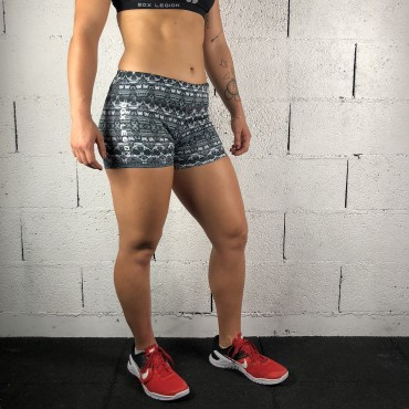 SHORT TRAINING SKULL GRIS | FEMME | BOX LEGION