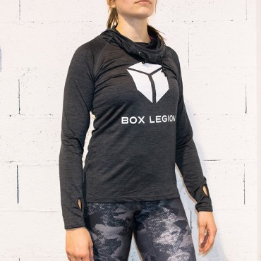 HOODED COOLFIT GRIS | FEMME | BOX LEGION